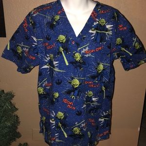 Star Wars Yoda One sz Med scrub top